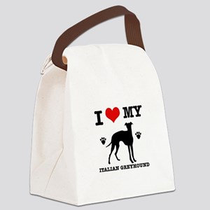 I Love My Italian Greyhound Canvas Lunch Bag